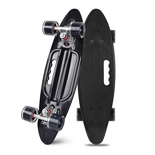 YF YOUFU Skateboards 23 Inch Skateboard Complete Cruiser Plastic Skateboard for Beginners Boys Girls Banana Board with High Rebound PU Wheels