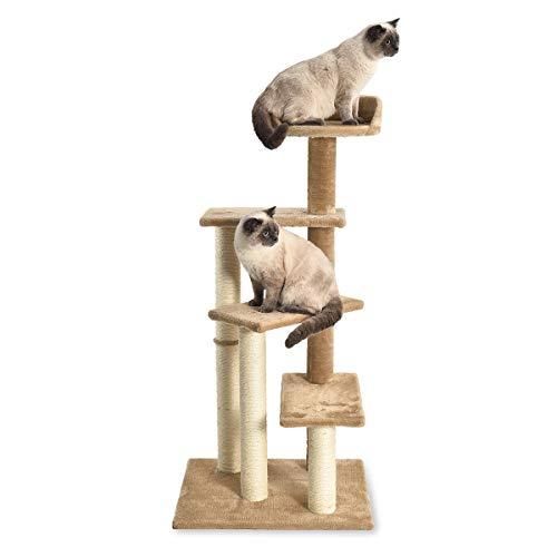 AmazonBasics Multi Platform Steps Cat Tree Tower - 24 x 19 x 49 Inches, Dark Beige