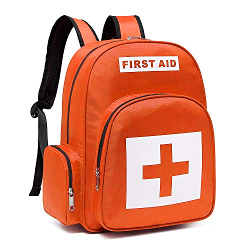 First Aid Backpack Empty for First Responder Response Emt Ems Bls Medical Trauma Bag Medic Emergency Kit Paramedic Ambulance Businesses Survival Car Office Home Sports Outdoor Bike Waterproof Orang
