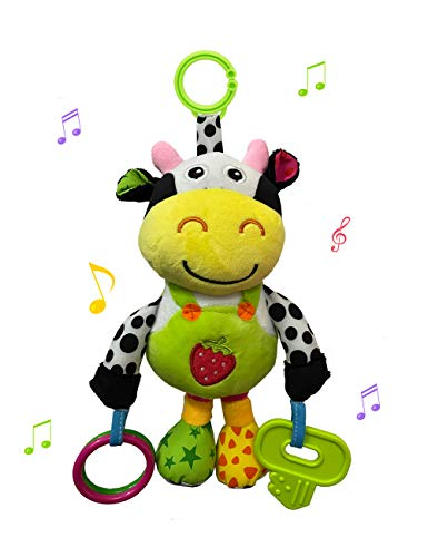 willway Baby Car Seat Toys, Hanging Soft Animal Plush Toys with 32 Songs Musical Rattles Toy for Baby Infant Boys and Girls, Perfect to Clip on Car Seat Stroller Crib Mobile Bar (Cow)