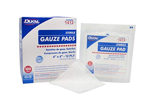 Dukal Sterile Gauze Pads, 100% Woven Cotton and Individually Wrapped, 4' x 4', 12-Ply Pad, Box of 100