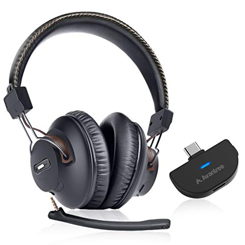 Avantree C519M Plug & Play Wireless Headphones Set Compatible with Nintendo Switch, MacBook Pro, Laptop PC w/USB-C Ports, Bluetooth Headset w/Mic Ideal for Music, Calls & Gaming, 40hrs Play Time