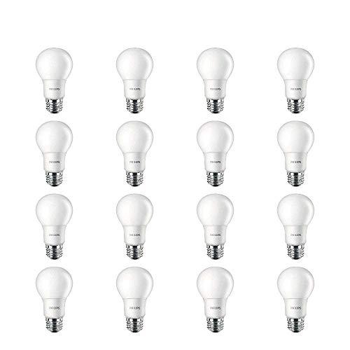 Philips LED Non-Dimmable A19 Frosted Light Bulb: 800-Lumen, 2700-Kelvin, 10-Watt (60-Watt Equivalent), E26 Base, Soft White, 16-Pack