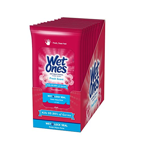 Wet Ones Antibacterial Hand Wipes, Fresh Scent, 20 Count (Pack of 10), Packaging May Vary