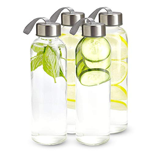 16 Ounce Glass Water Bottles, Water Bottles with Airtight, Pack of 4, Stainless Steel Lids Carrying Strap And Nylon Water Bottle Protective Sleeves for Hot Or Cold Drinks.