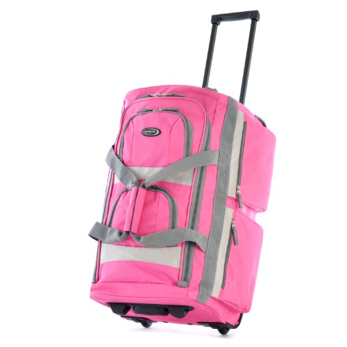 Olympia 8 Pocket Rolling Duffel Bag, Hot Pink, 22 inch