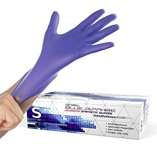 Powder Free Disposable Gloves Small - 100 Pack - Nitrile and Vinyl Blend Material - Extra Strong, 4 Mil Thick - Latex Free, Food Safe, Blue - Medical Exam Gloves, Cleaning Gloves