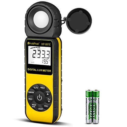 Light Meter-HOLDPEAK 881E Digital Illuminanc/Light Meter with 0.01~300,000 Lux (0.01~30,000 FC) Measuring Ranges and 270° Rotatable Detector for LED Lights and Plants Lumen Meter