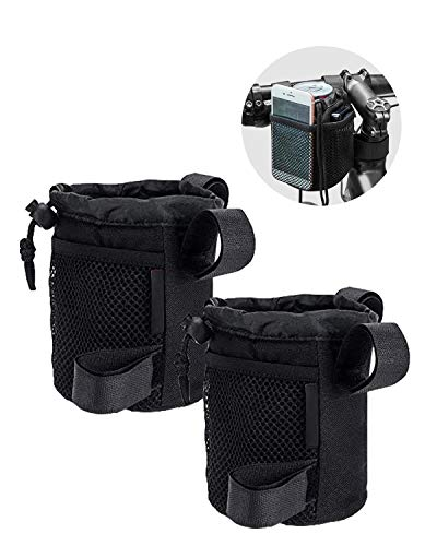 ISSYAUTO (2 Pack) Rollator Drink Cup Holder, 3-Straps Wheelchair Cup Holder, Bike Water Bottle Holder with Mesh Pockets Universal for Walker Bicycle Scooter