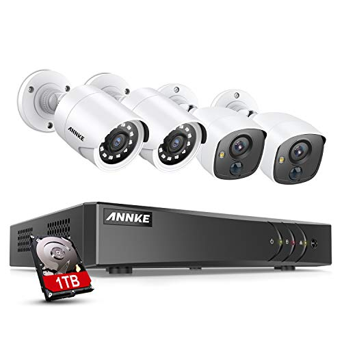 ANNKE 8CH 5MP Lite Surveillance Security Camera System 1TB Hard Drive with 2pcs 1920TVL PIR Security Cameras and 2pcs 1080P CCTV Cameras, PIR Motion Detection, White Light Alarm, Remote Access-S300