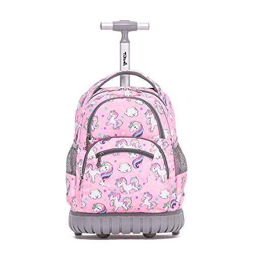 Tilami Rolling Backpack 16 Inch School College Travel Carry-on Backpack Boys Girls, Pink Hourse