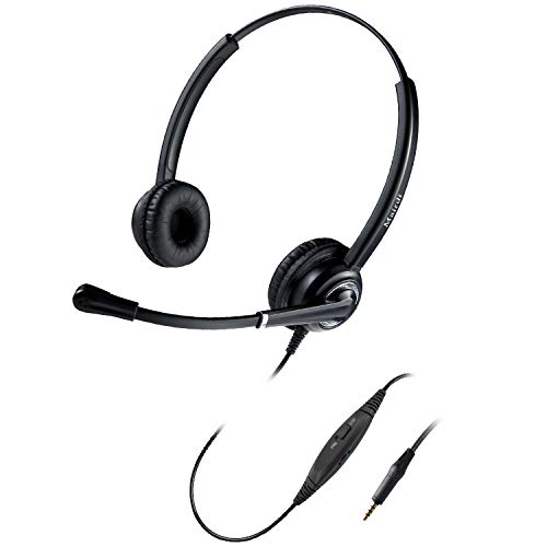MAIRDI Cell Phone Headset with Microphone Nosie Cancelling, Wired 3.5mm Headset for iPhone Samsung Mobile iPad Computer Laptop Tablets, w/Mic Mute Volume Control, Light Weight, Adjustable Headband