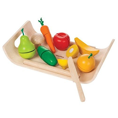 PlanToys Wooden Assorted Fruit and Vegetable Food Set (3416) | Sustainably Made from Rubberwood and Non-Toxic Paints and Dyes