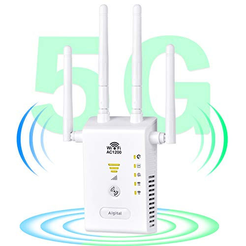 1200Mbps WiFi Extender Dual Band WiFi Booster, Aigital 2021 New Long Range WiFi Repeater for Whole Home Coverage, 5G and 2.4G Signal Supported, 4 High Gain Antennas for Stable Connection