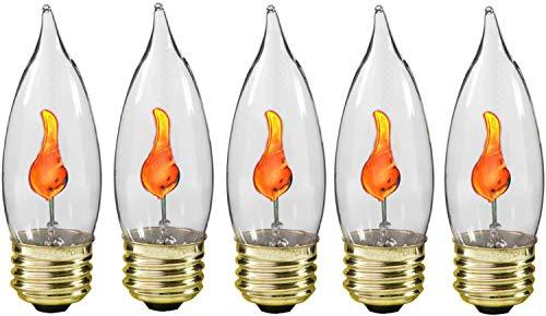 Creative Hobbies 10J Flicker Flame Light Bulb -Flame Shaped, E26 Standard Base, Flickering Orange Glow - Box of 5 Bulbs