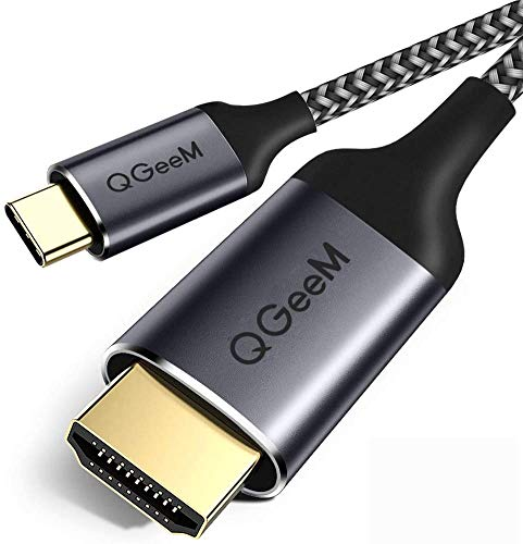 USB C to HDMI Cable, QGeeM USB Type C to HDMI Cable 6ft 4K@60Hz Braided Cable Adapter (Thunderbolt 3 Compatible) Compatible with MacBook Pro 2020/2019,iPad Pro,Surface,XPS 13/15,Galaxy S20 and More