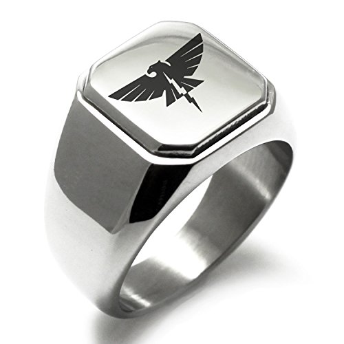 Stainless Steel Zeus Greek God of Sky Symbol Square Flat Top Biker Style Polished Ring, Size 10
