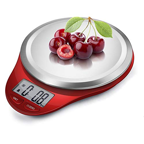 NUTRI FIT Digital Kitchen Scale with Wide Stainless Steel Plateform High Accuracy Multifunction Food Scale with LCD Display for Baking Kitchen Cooking,Tare & Auto Off Function (Red)