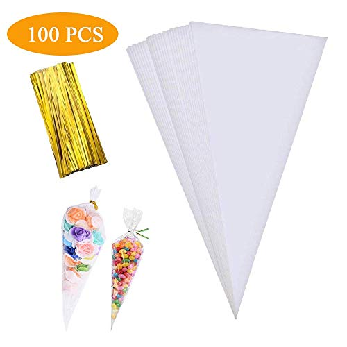 Cone Bag 100 PCS Clear Cello Treat Bags Popcorn Bags Triangle Goody Bags with Twist Ties for Candies Handmade Cookies (5.1' X 9.8')