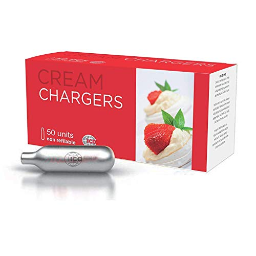 Whipped Cream Chargers, 50pcs, 8g N2O Cartridges by ICO