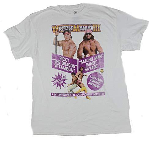 FREEZE Wrestlemania II Mens T-Shirt - Event Poster Macho Man vs. Ricky Steamboat (Small) White