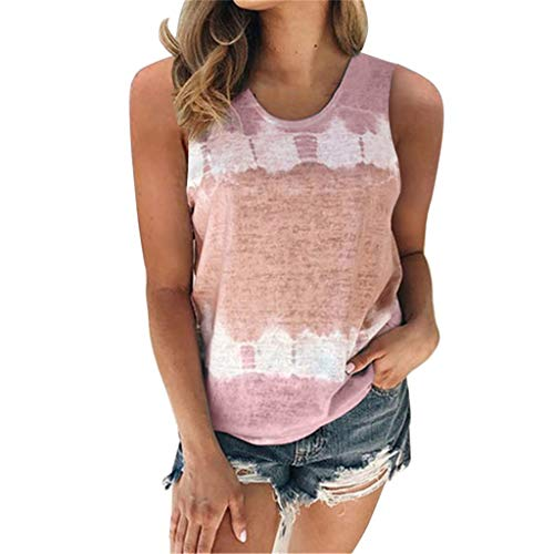 Women Tank Tops Loose Fit Gradient Tie Dye Shirts Summer Sleeveless Round Neck Fashion Vest Tops Chaofanjiancai