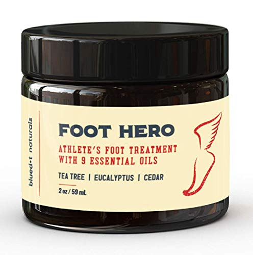 Foot Hero Natural Athletes Foot Treatment. Formulated for Athlete's Foot, Jock Itch, and Ringworm. A fast-acting cream for Itchy, Burning, Skin. With 9 Essential Oils, Cools on Contact Made in the USA