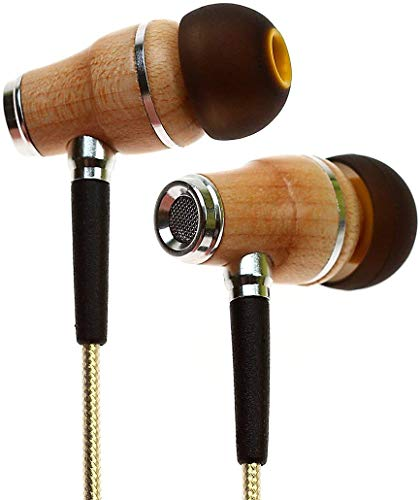 Symphonized NRG 2.0 Wood Earbuds Wired, in Ear Headphones with Microphone for Computer & Laptop, Noise Isolating Earphones for Cell Phone, Ear Buds with Booming Bass (Gold)