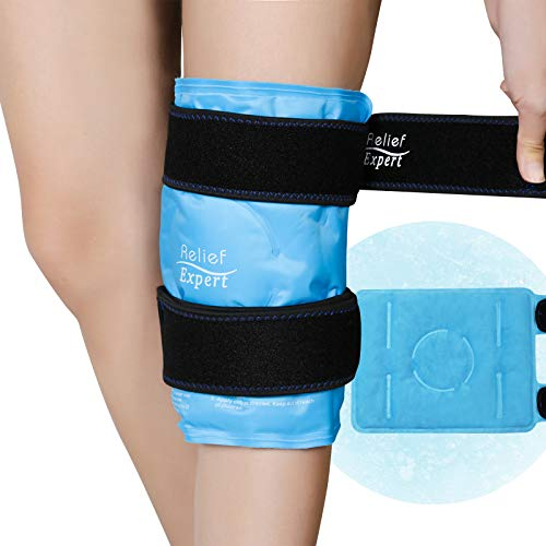 Relief Expert Knee Ice pack for Injuries Reusable Gel Cold Pack Knee Wrap Around Entire Knee with Cold Compression, Instant Knee Pain Relief for Swelling, Bruises, Surgery Recovery - Soft Plush Lining