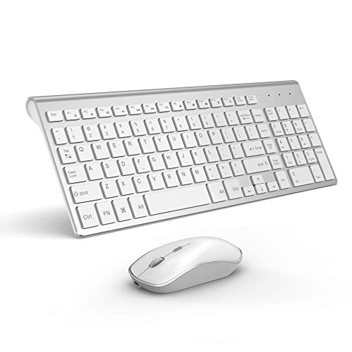 Rechargeable Wireless Keyboard Mouse- J JOYACCESS Ultra Slim Portable Full Size White Keyboard Mouse Combo 2.4G Quiet Keyboard and Mouse with Long Battery Life for Laptop,Desktop,PC,Computer,Windows