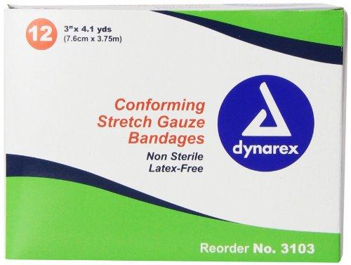 Dynarex Non Sterile Stretch Gauze Bandage Roll,3' x 4.1yd, 12 Count