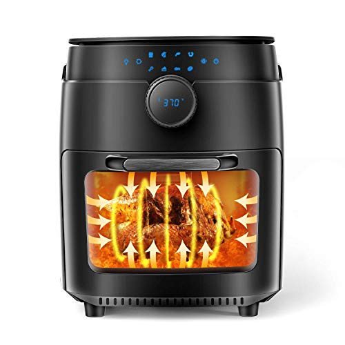 MOOSOO 12.7 Quart Air Fryer, 1800W Air Fryer Oven 8-in-1, Oil-less Electric Air Fryer with Dehydrator, Rotisserie & Bake, LED Digital Touchscreen, Time & Temperature Dial, Including Air Fryer Accessories