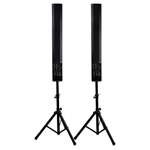 Sound Town Pair of Powered 6 x 5 Inches Column Speakers Line Array System with Speaker Stands for Live Music, House of Worship, Meeting Rooms, Restaurants (CARPO-V5SD)