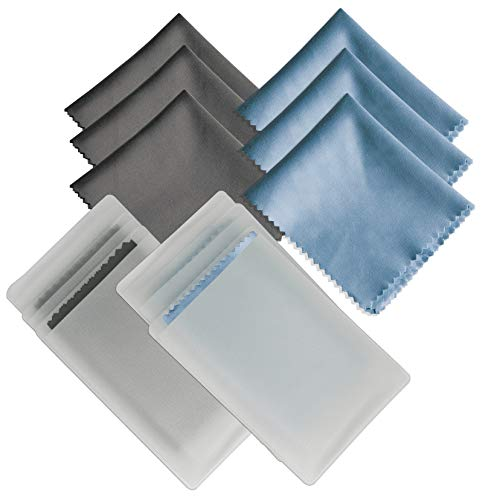 6 Pack Microfiber Cleaning Cloths, Runch Glasses Cleaner Cloth for Lenses, Phones, LCD Screens and Tablets - 6x7 Inch