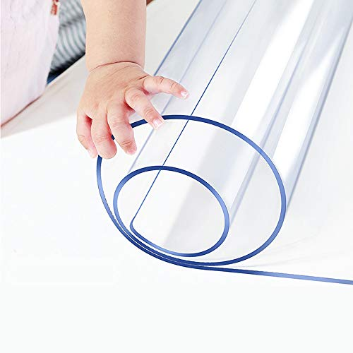 1.5mm Thick 24 x 48 Clear Vinyl Blotter Mat Table Protector Plastic Tablecloth Liner Cover Wipeable Easy Clean Heat Resistant Protective Pad PVC Furniture Writing Desk Dining Coffee Kitchen Tabletop