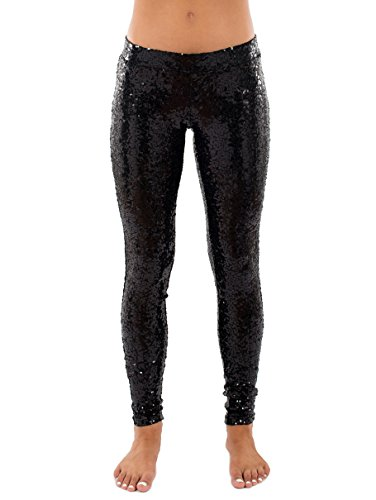 Black Sequin Leggings - Shiny Black Tights for Women (Small)