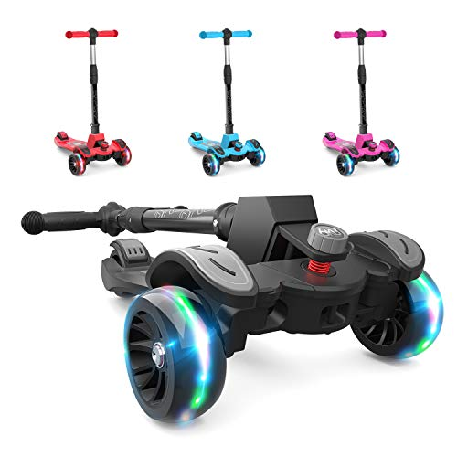 6KU Kids Kick Scooter with Adjustable Height, Lean to Steer, Flashing Wheels for Children 3-8 Years Old Black