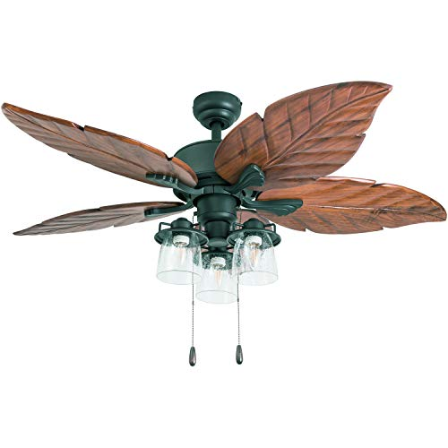Prominence Home 50677-01 Caspian Sea Tropical Ceiling Fan, 52', Dark Cherry Hand Carved Wood, Aged Bronze