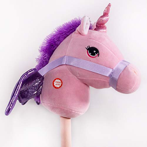PonyLand Pink Unicorn Stick Horse with Sound Toy