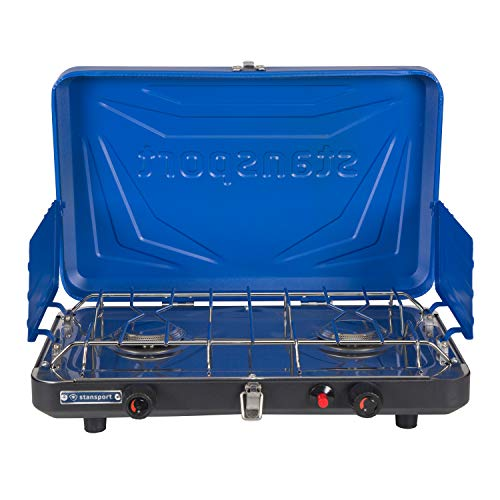 Stansport 2-Burner Propane Camp Stove with Drip Pan and Piezo Igniter, Blue