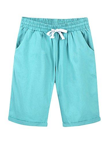 Women's Casual Elastic Waist Knee Length Curling Bermuda Shorts Turquoise - XL