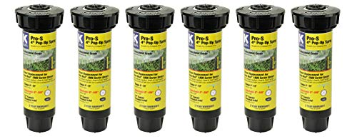 K-Rain Pro-S 4' Professional Pop-Up Sprays- 6Pack w. 15' Adjustable Pattern Nozzles(0°-360°)