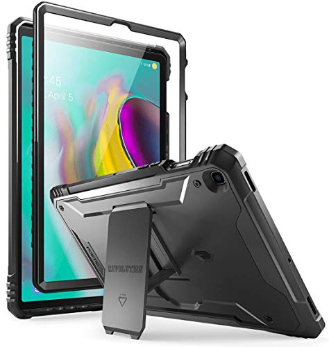 Galaxy Tab S5E Case, Poetic Full-Body Heavy Duty Dual-Layer Shockproof Protective Cover with Kickstand, Built-in-Screen Protector, Revolution Series, for Samsung Galaxy Tab S5E (SM-T720/T725), Black