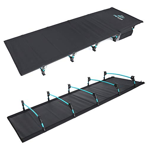 FE Active Folding Camping Cot - Lightweight, Compact, Portable Outdoor Bed Comfortable Sleeping Cots for Adults & Kids. Fits Single Air Mattress Pad. Camping, Travel, RV | Designed in California, USA