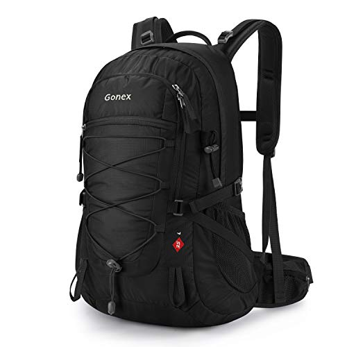 Gonex Updated 35L Hiking Backpack, Water Repellent Camping Outdoor Trekking Daypack, Backpack Cover Included (Black)