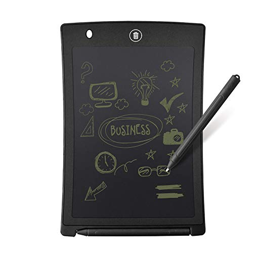 8.5 inch LCD Writing Tablet, Button Erase,eWriter for Study, Office Working, Drafting, and Note, Paper Replacement, Replaceable Battery CR2025 (8.5, Black)