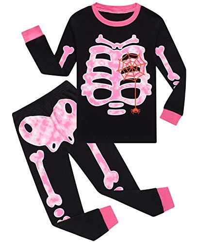 Girls Halloween Pajamas Skeleton-Glow-in-The-Dark Shirts Toddler Pjs Kids Clothes Sleepwear 4T Black