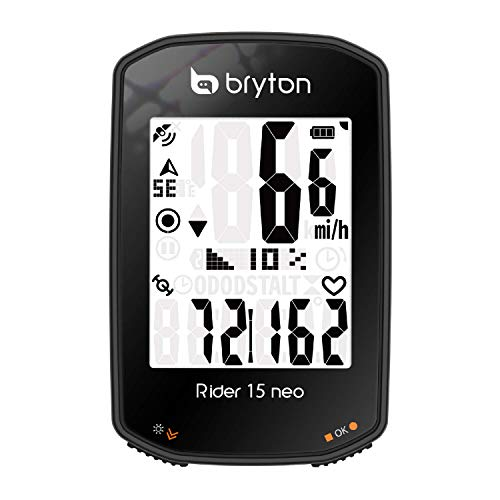 Bryton Rider 15 neo GPS Bike/Cycling Computer Device Only: Twist | Click | Go! 3 Satellite System. 16 Hr Battery Life. Supports BLE Speed, Cadence, Heart Rate Sensors. Backlight. Smart Notifications.
