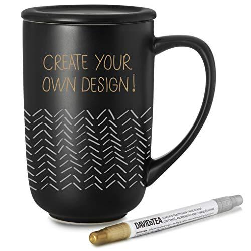 DAVIDsTEA Customizable Nordic Mug Kit, Includes Lid & Pen, Draw Your Own Permanent Design, Black, 16 oz / 473 ml