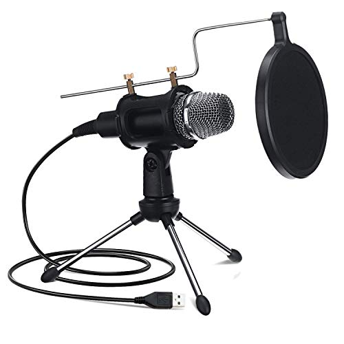 NASUM USB Microphone for Computer, Upgraded Condenser Microphone, Dual-Layer Acoustic Filter,Professional Sound Chipset, for YouTube, Facebook, Skype, Google Search, Podcasting, Games (USB)